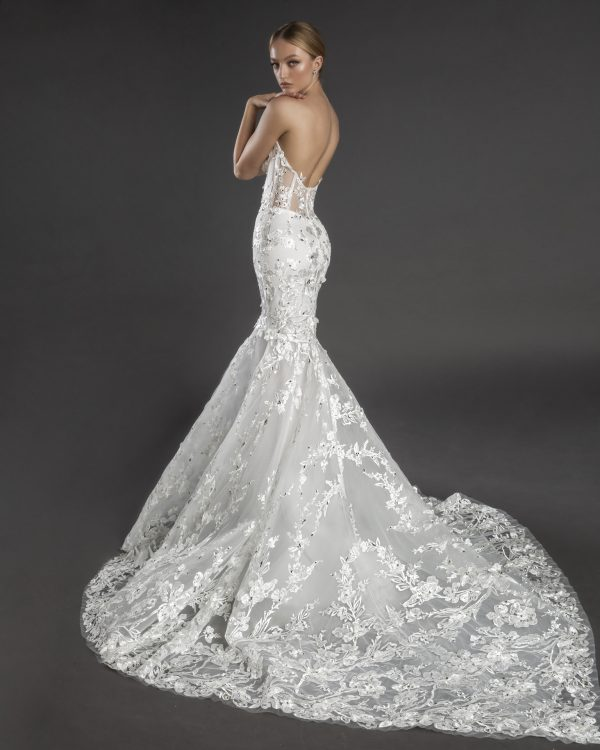 Strapless V-neckline Lace Mermaid Wedding Dress With Flowers And Crystals by Love by Pnina Tornai - Image 2