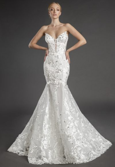 Strapless V-neckline Lace Mermaid Wedding Dress With Flowers And Crystals by Love by Pnina Tornai