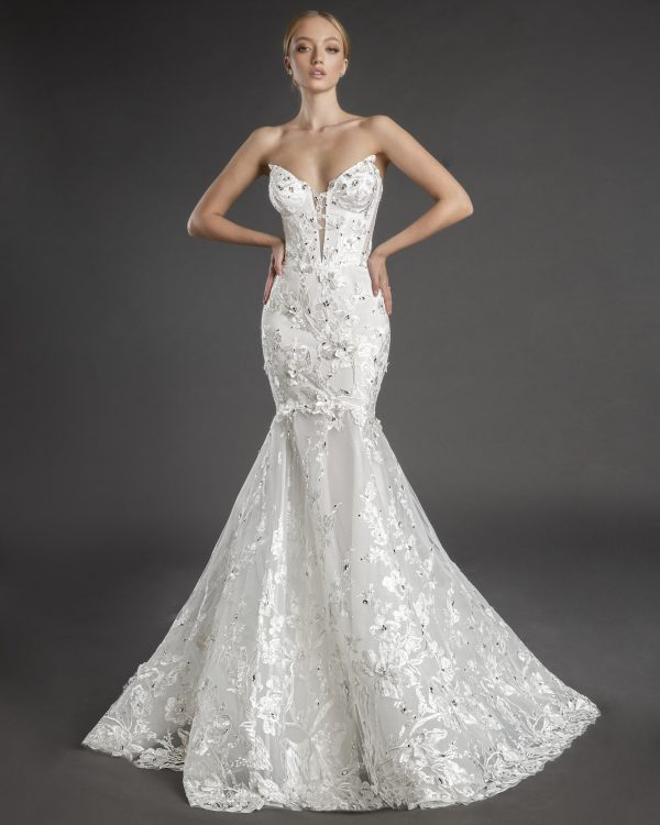 Strapless V-neckline Lace Mermaid Wedding Dress With Flowers And Crystals by Love by Pnina Tornai - Image 1