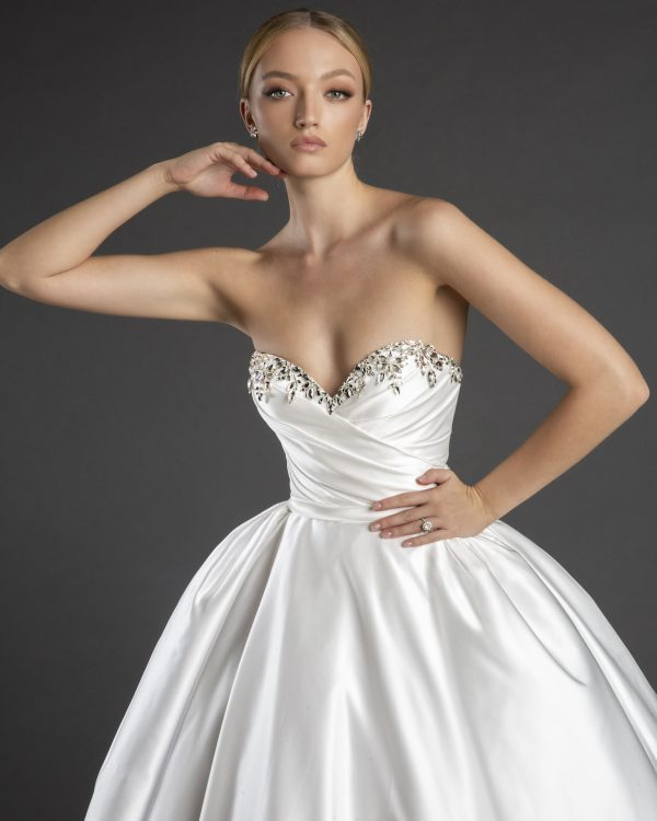 Sweetheart Neckline Strapless Satin Ball Gown Wedding Dress With Crystals by Love by Pnina Tornai - Image 2
