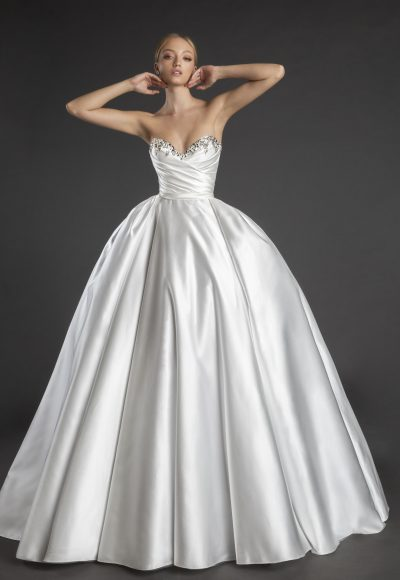 Sweetheart Neckline Strapless Satin Ball Gown Wedding Dress With Crystals by Love by Pnina Tornai