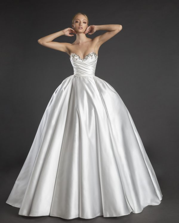 Sweetheart Neckline Strapless Satin Ball Gown Wedding Dress With Crystals by Love by Pnina Tornai - Image 1