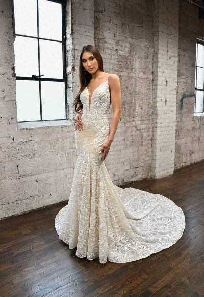 GLAMOROUS FIT-AND-FLARE WEDDING DRESS WITH BACK STRAP DETAIL by Martina Liana