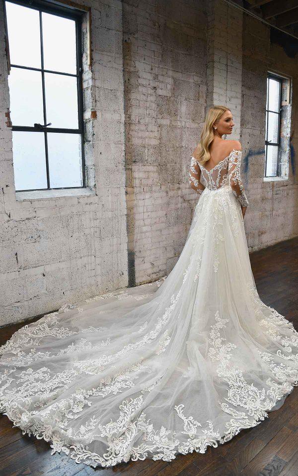 LONG-SLEEVE LACE WEDDING DRESS WITH DETACHABLE OVERSKIRT by Martina Liana - Image 2