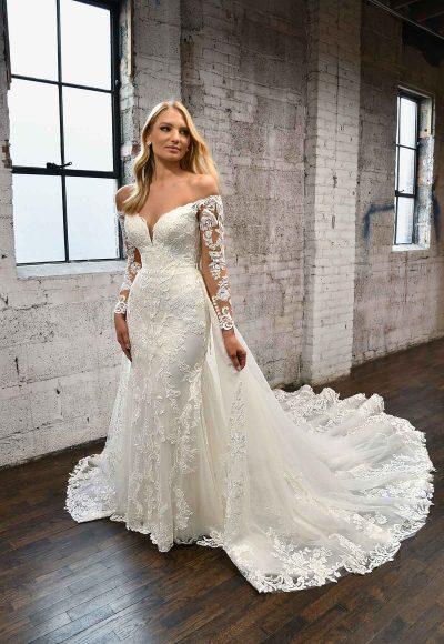 LONG-SLEEVE LACE WEDDING DRESS WITH DETACHABLE OVERSKIRT by Martina Liana