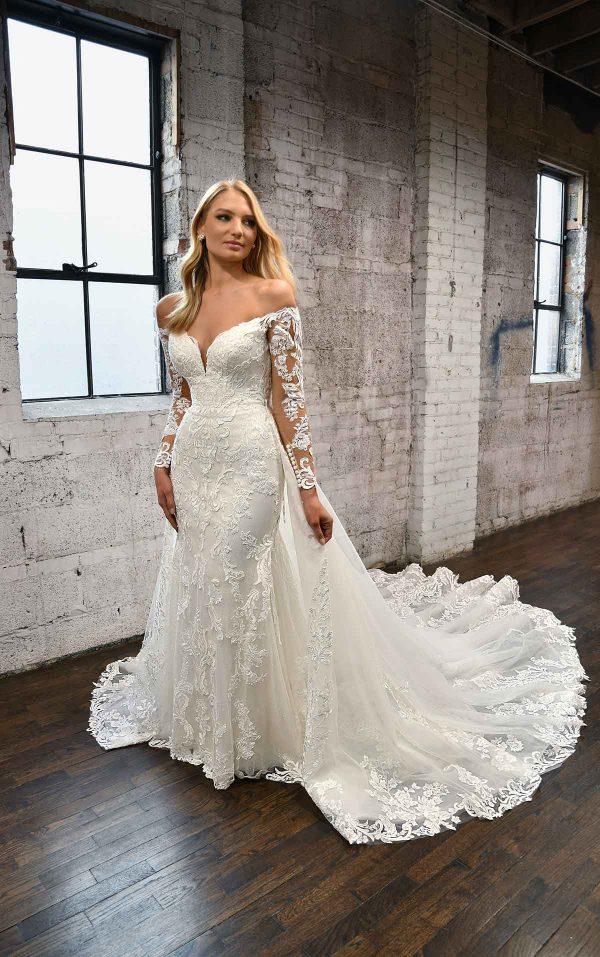 LONG-SLEEVE LACE WEDDING DRESS WITH DETACHABLE OVERSKIRT by Martina Liana - Image 1