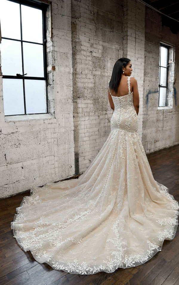 PLUNGING V-NECKLINE WEDDING DRESS WITH FLORAL SKIRT by Martina Liana - Image 2