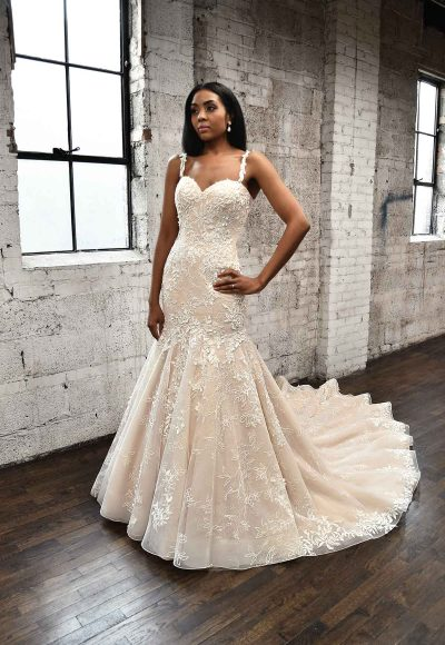 PLUNGING V-NECKLINE WEDDING DRESS WITH FLORAL SKIRT by Martina Liana