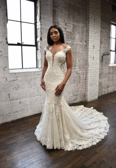 SEXY FIT-AND-FLARE WEDDING DRESS WITH ORNATE LACE EMBELLISHMENTS by Martina Liana