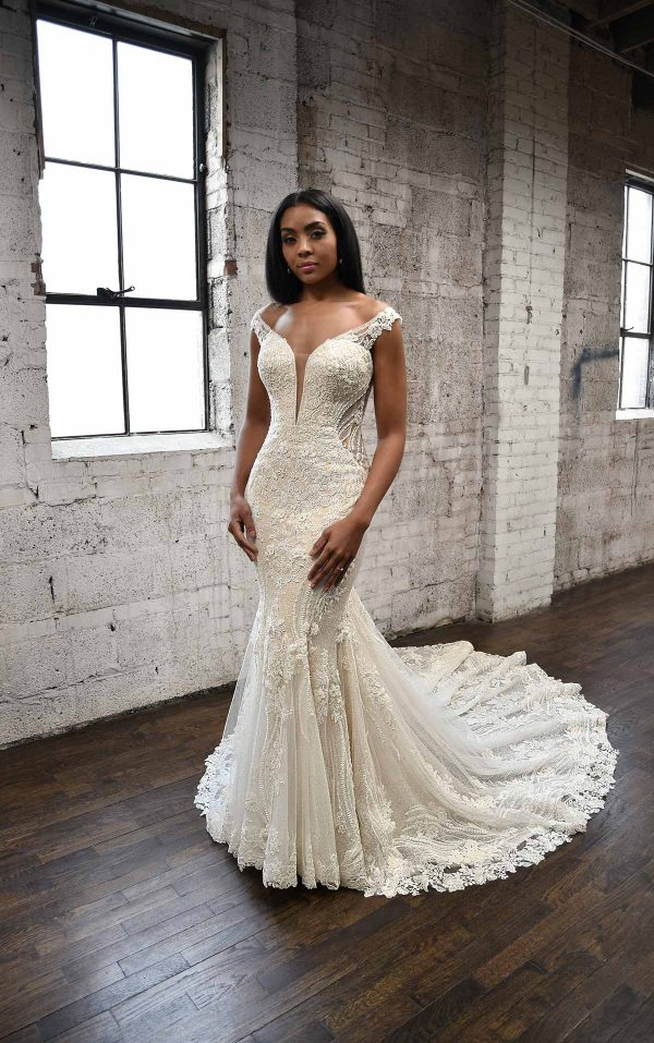 SEXY FIT-AND-FLARE WEDDING DRESS WITH ORNATE LACE EMBELLISHMENTS by Martina Liana - Image 1