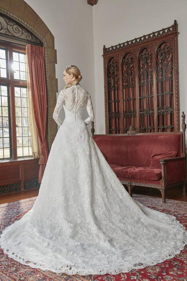 Long Sleeve Lace Collar Neckline Ball Gown Wedding Dress by Sareh Nouri - Image 2