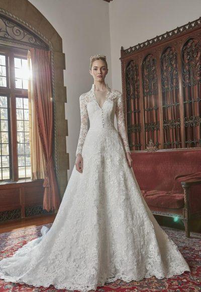 Long Sleeve Lace Collar Neckline Ball Gown Wedding Dress by Sareh Nouri