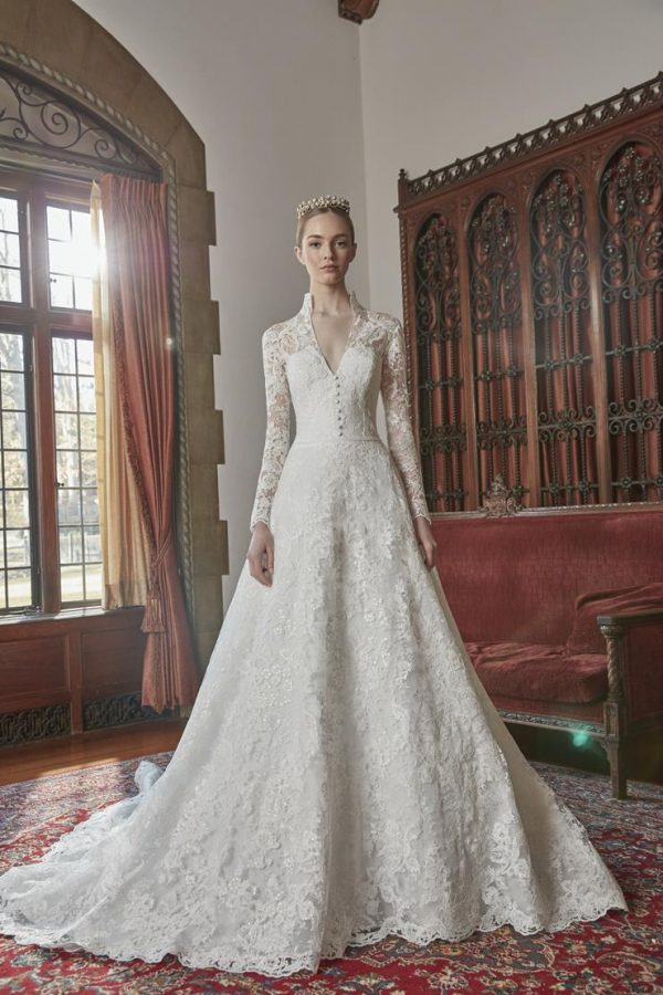 Long Sleeve Lace Collar Neckline Ball Gown Wedding Dress by Sareh Nouri - Image 1