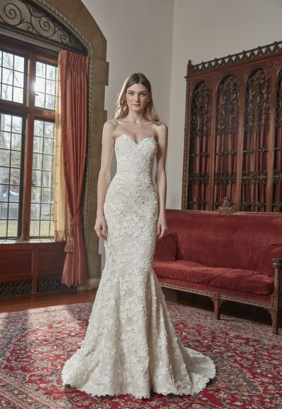Strapless Fit And Flare Floral Lace Wedding Dress by Sareh Nouri