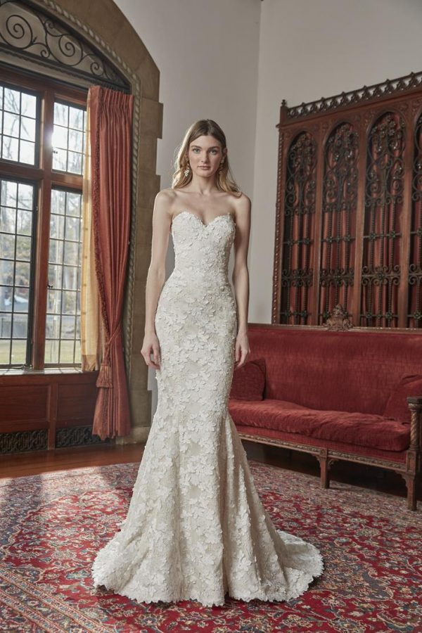 Strapless Fit And Flare Floral Lace Wedding Dress by Sareh Nouri - Image 1