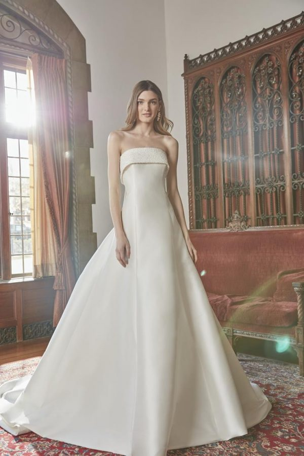 Strapless Silk A-line Wedding Dress With Beaded Collar by Sareh Nouri - Image 1