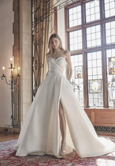 Strapless Sweetheart Neckline With Draped Bodice Ball Gown Wedding Dress by Sareh Nouri