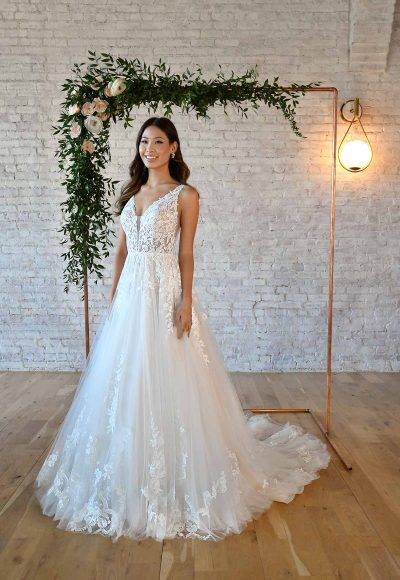 FLORAL LACE WEDDING DRESS WITH PLUNGING V-NECKLINE by Stella York
