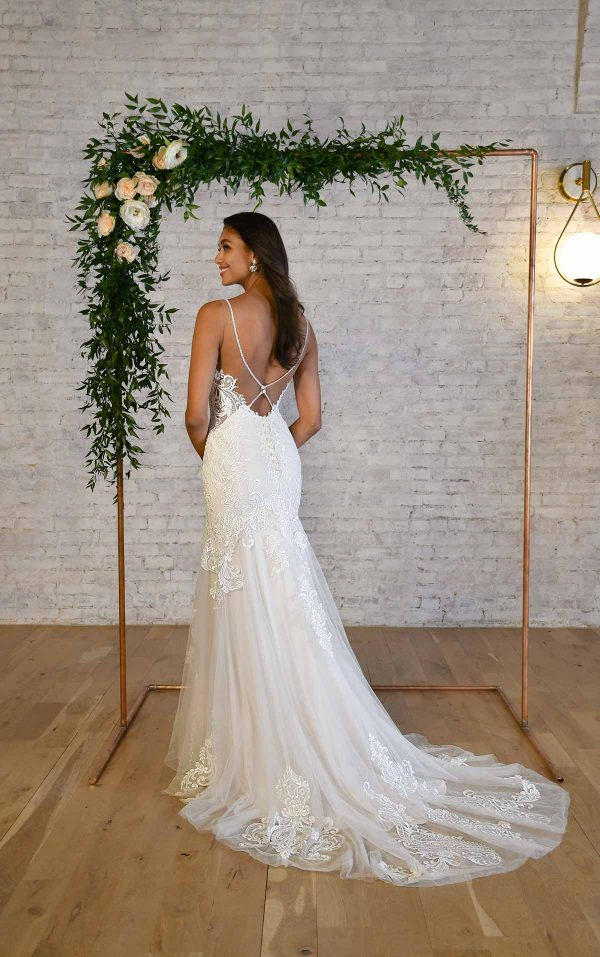 HALTER NECKLINE FIT-AND-FLARE WEDDING DRESS WITH BACK DETAIL by Stella York - Image 2