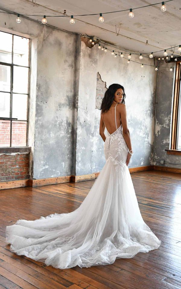 FLORAL LACE FIT AND FLARE WEDDING DRESS WITH OPEN BACK by All Who Wander - Image 2