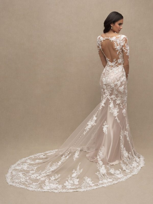 Illusion Long Sleeve Sheath Lace Wedding Dress by Allure Bridals - Image 2