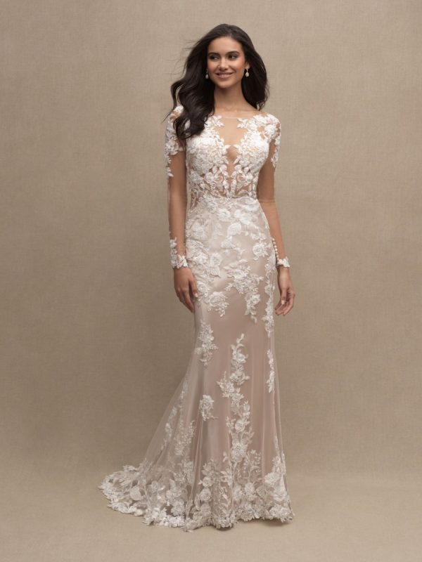 Illusion Long Sleeve Sheath Lace Wedding Dress by Allure Bridals - Image 1