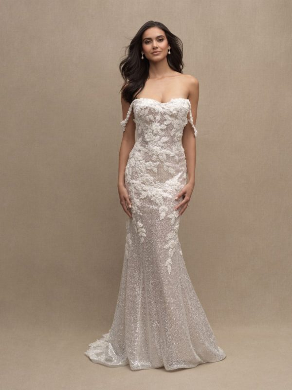 Off The Shoulder Sweetheart Neckline Beaded Lace Fit And Flare Wedding Dress by Allure Bridals - Image 1