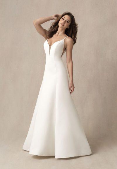 SIMPLE SPAGHETTI STRAP A-LINE WEDDING DRESS WITH ILLUSION CUTOUTS by Allure Bridals