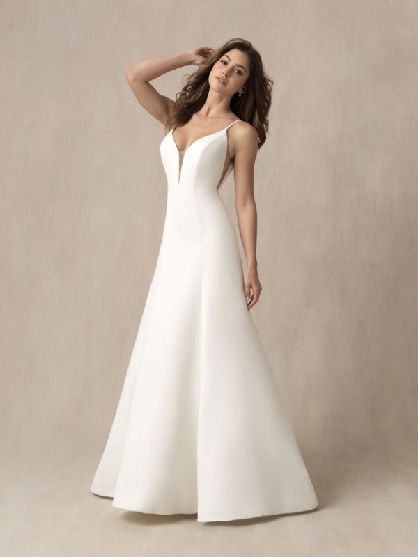 SIMPLE SPAGHETTI STRAP A-LINE WEDDING DRESS WITH ILLUSION CUTOUTS by Allure Bridals - Image 1