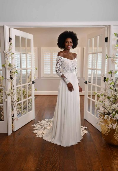 MODEST LONG-SLEEVE LACE WEDDING DRESS WITH STRAIGHT NECKLINE by Essense of Australia