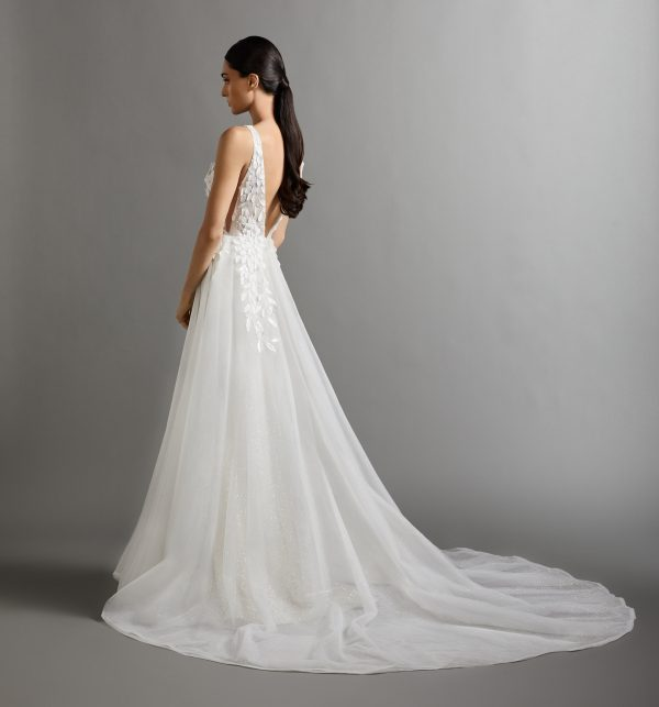 Sleeveless V-neckline A-line Wedding Dress With Embroidered Bodice And Tulle Skirt by Lazaro - Image 2