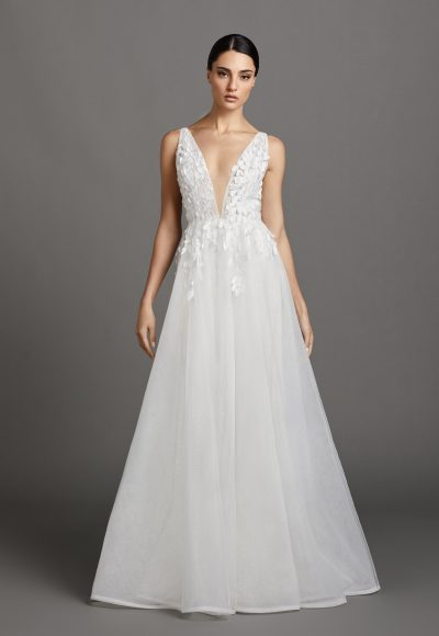 Sleeveless V-neckline A-line Wedding Dress With Embroidered Bodice And Tulle Skirt by Lazaro