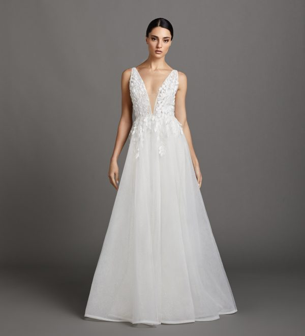 Sleeveless V-neckline A-line Wedding Dress With Embroidered Bodice And Tulle Skirt by Lazaro - Image 1