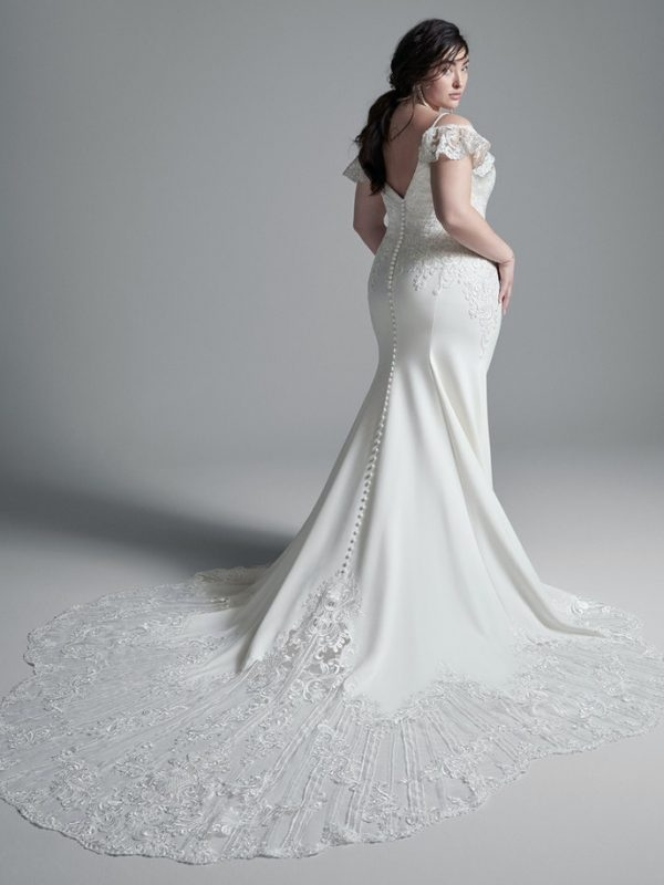Crepe Sheath Cold Shoulder Wedding Dress by Maggie Sottero - Image 2
