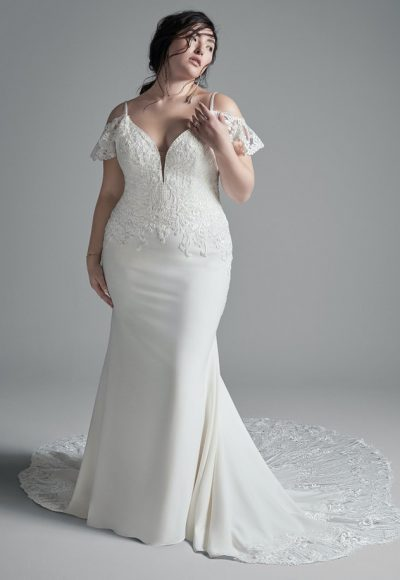 Crepe Sheath Cold Shoulder Wedding Dress by Maggie Sottero