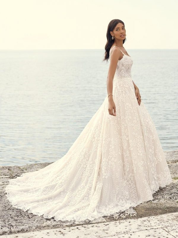 Sleeveless Floral Lace A-line Wedding Dress by Maggie Sottero - Image 2