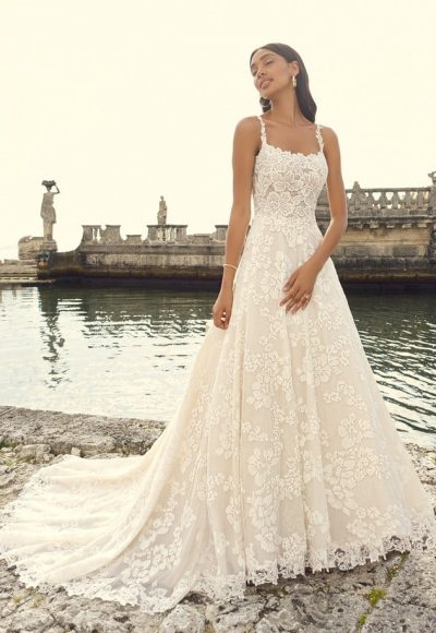 Sleeveless Floral Lace A-line Wedding Dress by Maggie Sottero