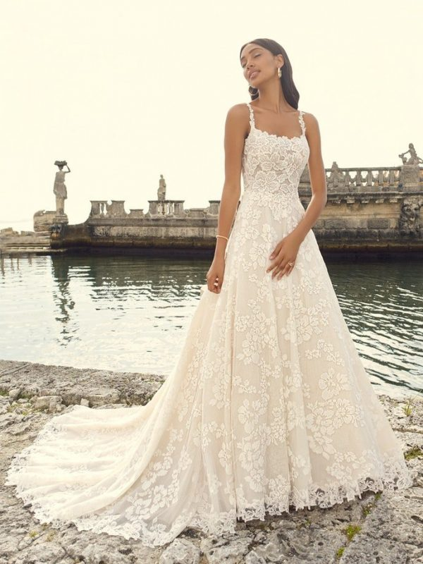 Sleeveless Floral Lace A-line Wedding Dress by Maggie Sottero - Image 1