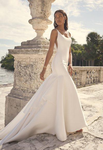 Sleeveless Satin Mermaid Wedding Dress by Maggie Sottero