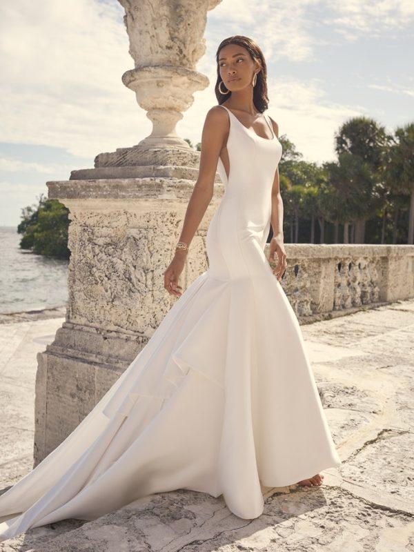 Sleeveless Satin Mermaid Wedding Dress by Maggie Sottero - Image 1