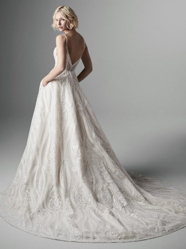 Spaghetti Strap Sweetheart Neckline Embroidered A-line Wedidng Dress by Maggie Sottero - Image 2