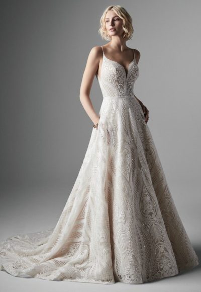 Spaghetti Strap Sweetheart Neckline Embroidered A-line Wedidng Dress by Maggie Sottero
