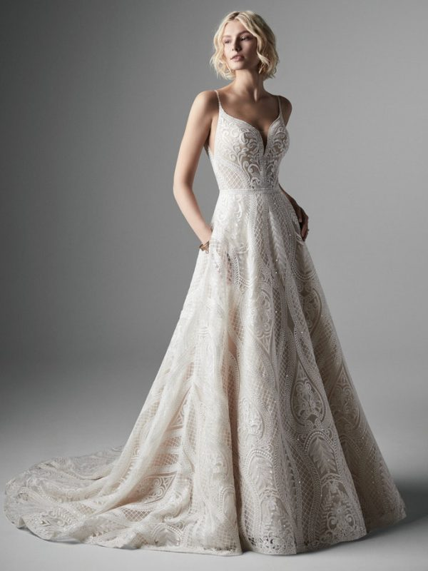 Spaghetti Strap Sweetheart Neckline Embroidered A-line Wedidng Dress by Maggie Sottero - Image 1