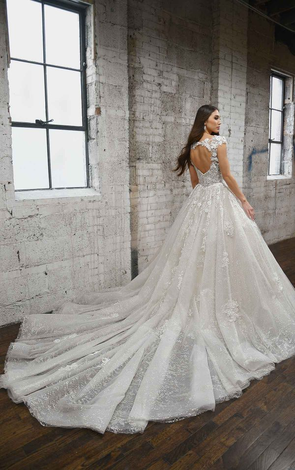 DRAMATIC SPARKLING BALLGOWN WITH LACE DETAILS AND KEYHOLE BACK by Martina Liana - Image 2
