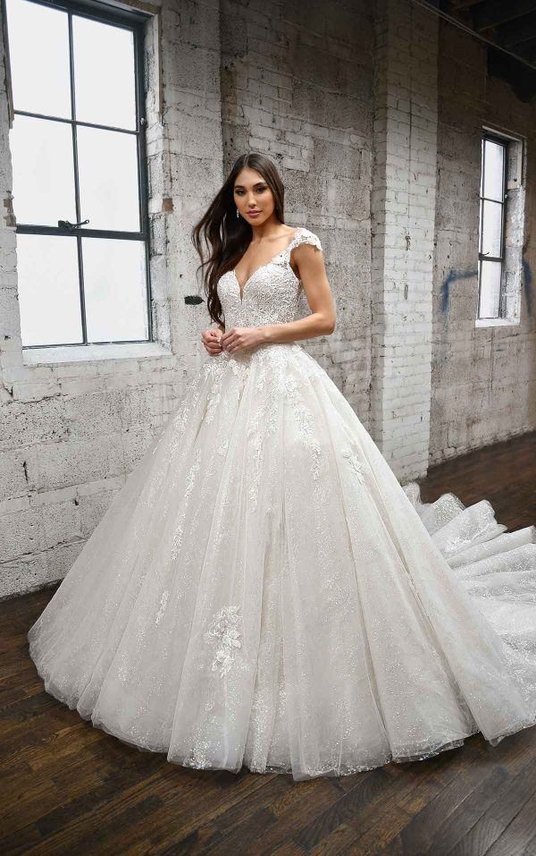 DRAMATIC SPARKLING BALLGOWN WITH LACE DETAILS AND KEYHOLE BACK by Martina Liana - Image 1
