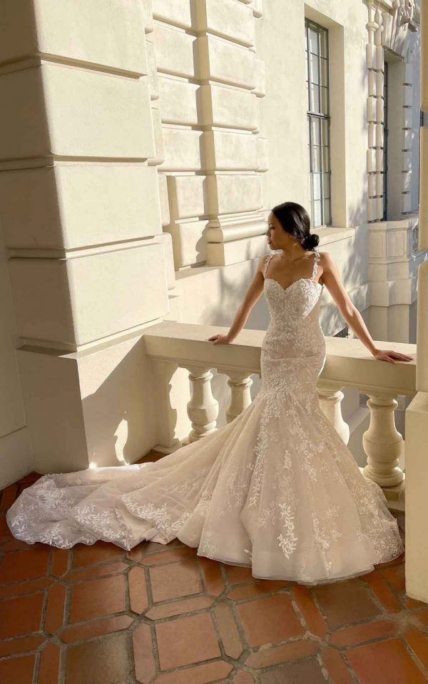 PLUNGING V-NECKLINE WEDDING DRESS WITH FLORAL SKIRT by Martina Liana - Image 1