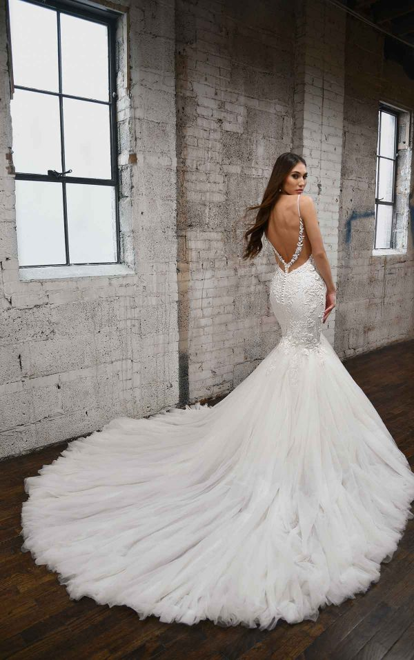 V-NECKLINE FIT AND FLARE WEDDING DRESS WITH FLORAL DETAILS by Martina Liana - Image 2