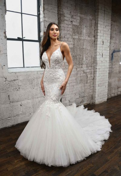V-NECKLINE FIT AND FLARE WEDDING DRESS WITH FLORAL DETAILS by Martina Liana