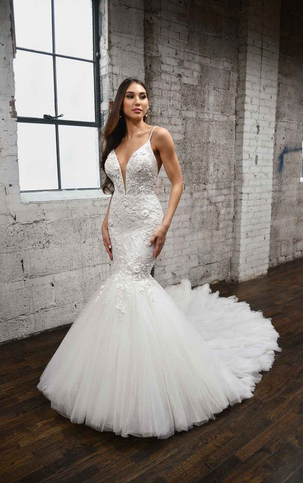 V-NECKLINE FIT AND FLARE WEDDING DRESS WITH FLORAL DETAILS by Martina Liana - Image 1