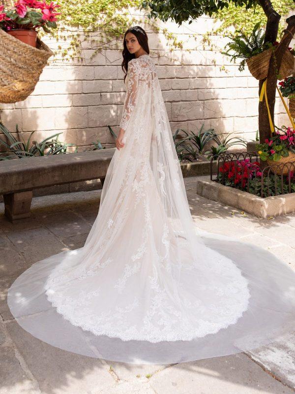 Long Sleeve Sweetheart Neckline Mermaid Wedding Dress With Open Back by Pronovias - Image 2